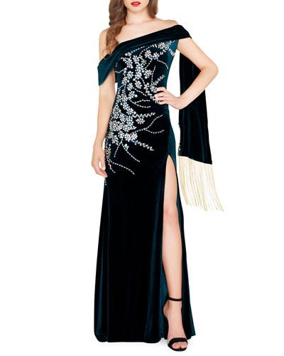 Floral Embroidered & Beaded Velvet Off-the-Shoulder Gown