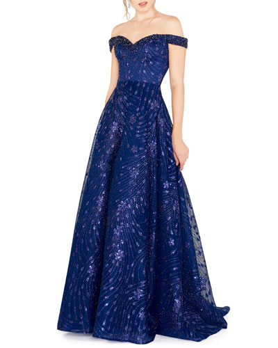 Beaded Off-the-Shoulder Sweetheart Novelty A-Line Gown