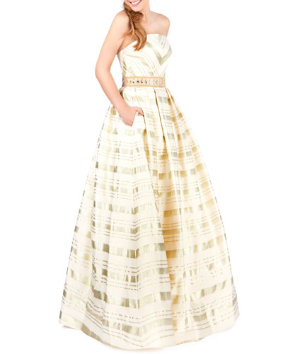 Metallic Striped Strapless Ball Gown with Pockets