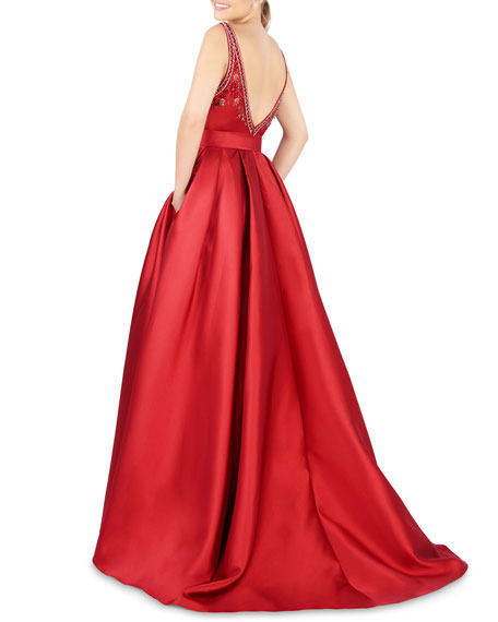 Mac Duggal Embellished High-Neck Sleeveless Pleated Satin Gown w/ Pockets