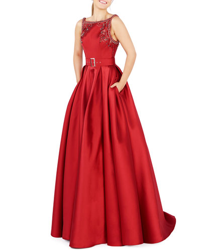 Embellished High-Neck Sleeveless Pleated Satin Gown w/ Pockets