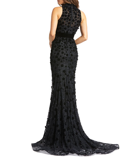 Mac Duggal Mock-Neck Sleeveless Floral Applique Lace Gown