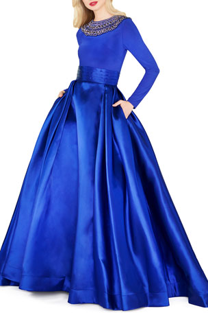 Mac Duggal Embellished High-Neck Long-Sleeve Satin Skirt Ball Gown