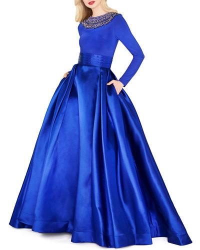Embellished High-Neck Long-Sleeve Satin Skirt Ball Gown
