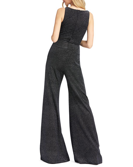 Mac Duggal Velvet Pindot V-Neck Sleeveless Wide-Leg Jumpsuit