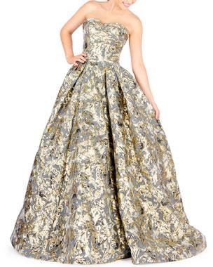 b013fa87beb Mac Duggal Strapless Floral Brocade Ball Gown