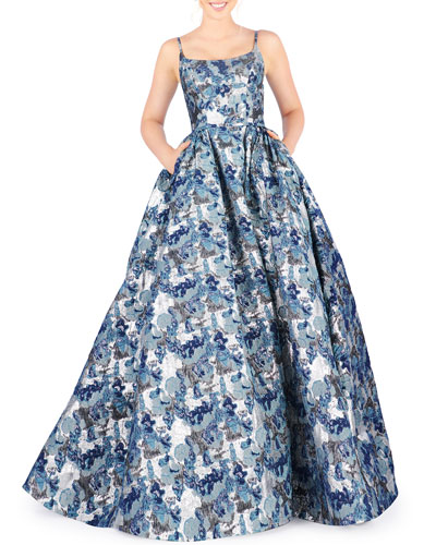 Square-Neck Sleeveless Brocade Ball Gown