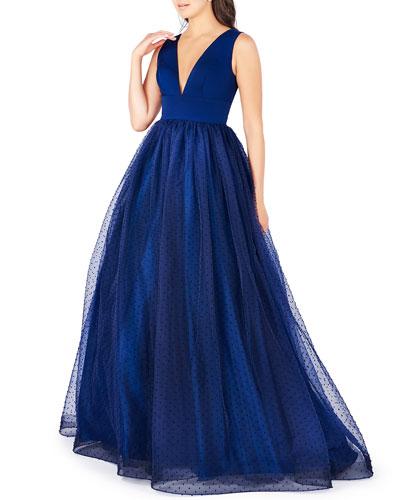 Deep V-Neck Empire-Waist Sleeveless Gown