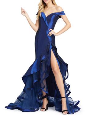 2f76f396d6e6 Mac Duggal Off-the-Shoulder Sweetheart Tiered Taffeta Mermaid Gown