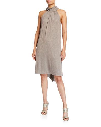 Mock-Neck Sleeveless Metallic Jersey Dress
