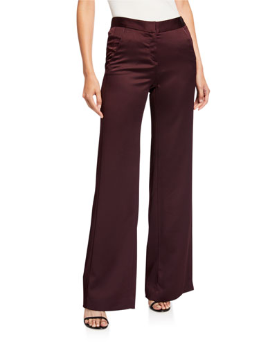 Straight-Leg Satin Pants with Pleat Details