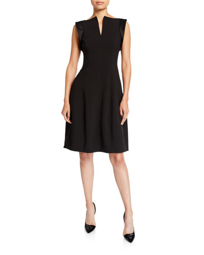 Cap-Sleeve Notched-Neck Cocktail Dress