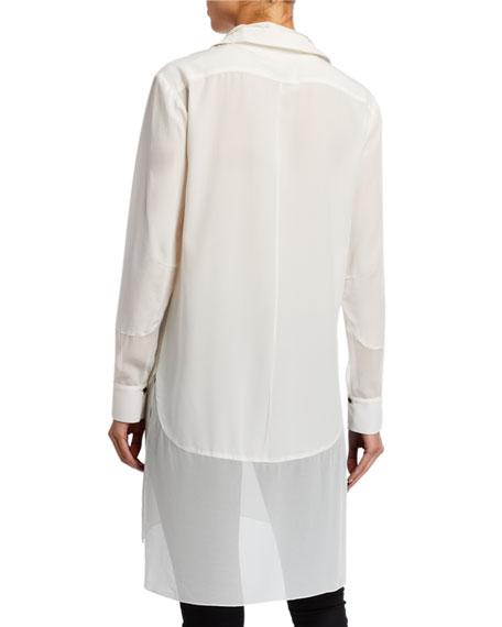 Halston Heritage Button-Front Long-Sleeve Silk Shirt w/ Georgette Insert