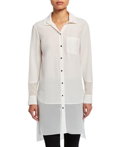 Button-Front Long-Sleeve Silk Shirt w/ Georgette Insert