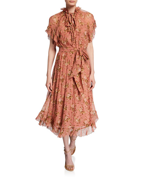 Zimmermann Espionage Frill Floral Midi Dress
