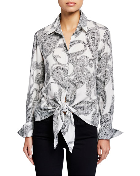 Finley Lindy Tie Front Etched Paisley Shirt