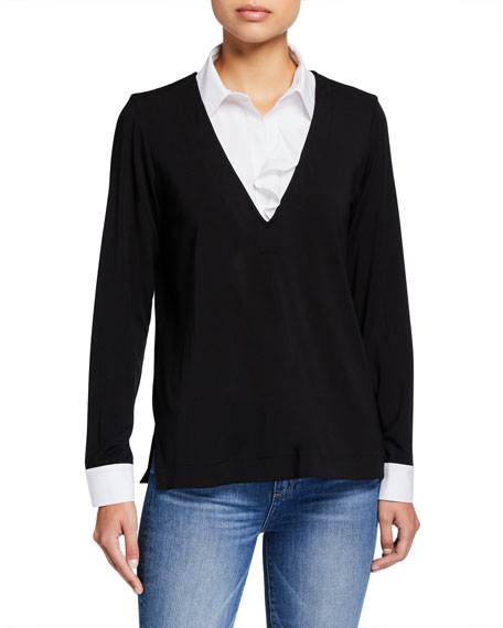 Finley BLAKE KNIT TOP WITH POPLIN COLLAR