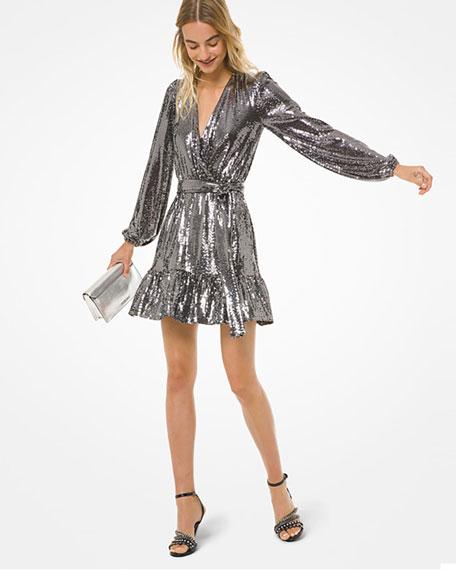 MICHAEL Michael Kors Sequin Mirror Dot Blouson-Sleeve Flounce-Hem Dress