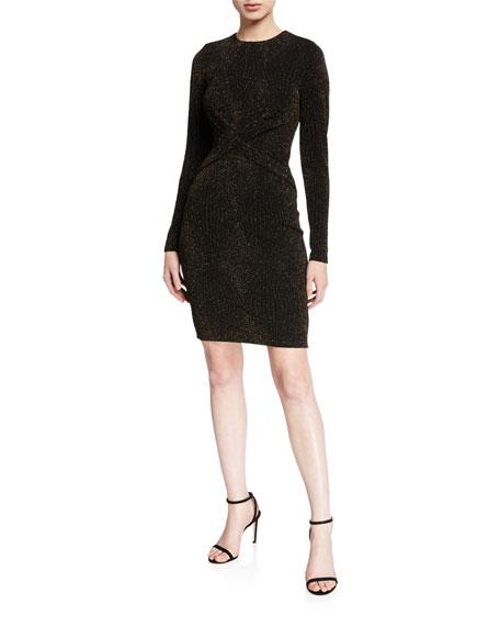 MICHAEL Michael Kors Diamond Metallic Long-Sleeve Twist Dress