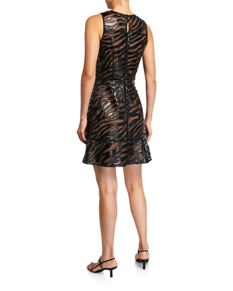MICHAEL Michael Kors Bengal Faux Leather Sleeveless Mini Dress