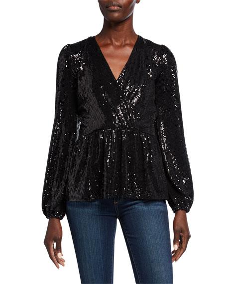 MICHAEL Michael Kors Sequin Mirror Dot Crossover Blouson-Sleeve Peplum Top