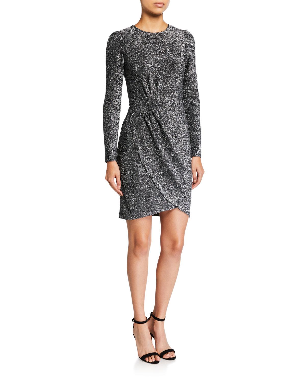 MICHAEL Michael Kors Metallic Long-Sleeve Wrapped Skirt Dress