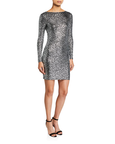 MICHAEL Michael Kors Catty Foiled Cowl-Back Long-Sleeve Dress
