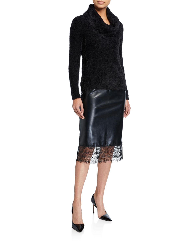 MICHAEL Michael Kors Faux leather Lace-Hem Pencil Skirt