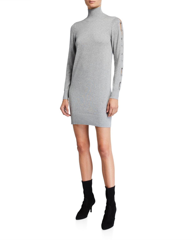 MICHAEL Michael Kors Turtleneck Long-Sleeve Mini Dress w/ Sleeve Tie
