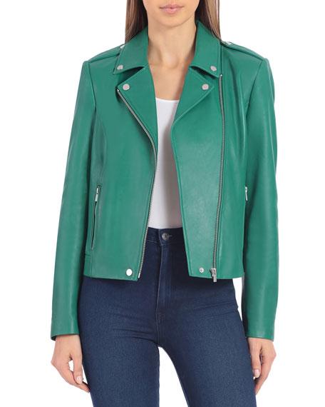 Badgley Mischka Collection Lamb Leather Biker Jacket