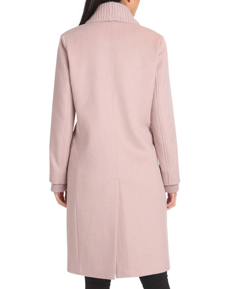 Badgley Mischka Collection Double-Breasted Wool Coat with Ribbed Shawl Collar