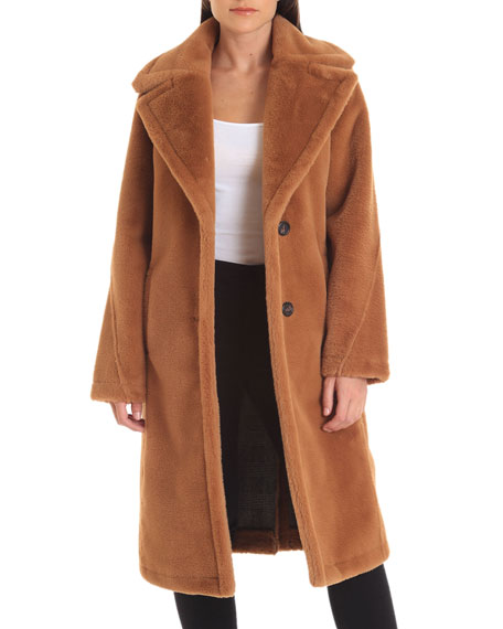 Avec Les Filles Coats LONG BONDED FAUX-FUR COAT