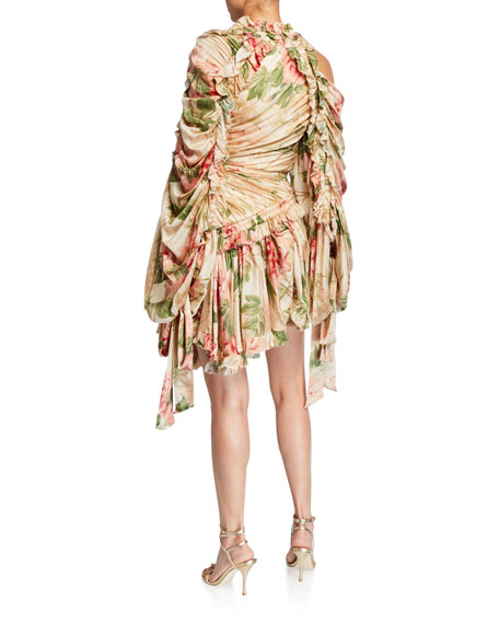 Zimmermann Espionage Drawn Gathered Silk Mini Dress