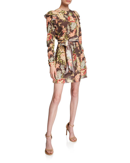 Zimmermann Espionage Silk Ruched Mini Dress with Belt