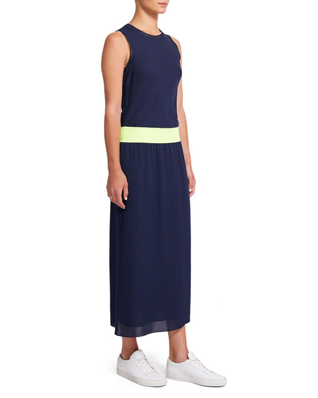 Theory Lewie Silk Sleeveless Combo Dress