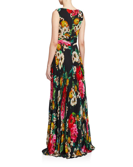 Image 2 of 2: Floral Mock-Wrap Sleeveless Accordion Pleated Dress
