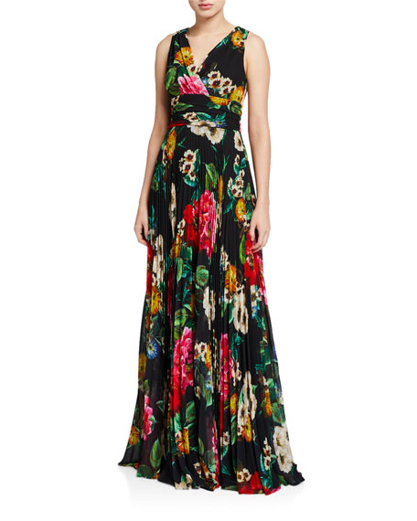 Image 1 of 2: Floral Mock-Wrap Sleeveless Accordion Pleated Dress