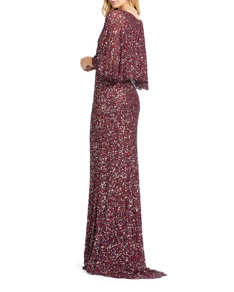 Mac Duggal Sequin Plunge-Neck Flutter-Sleeve Column Gown