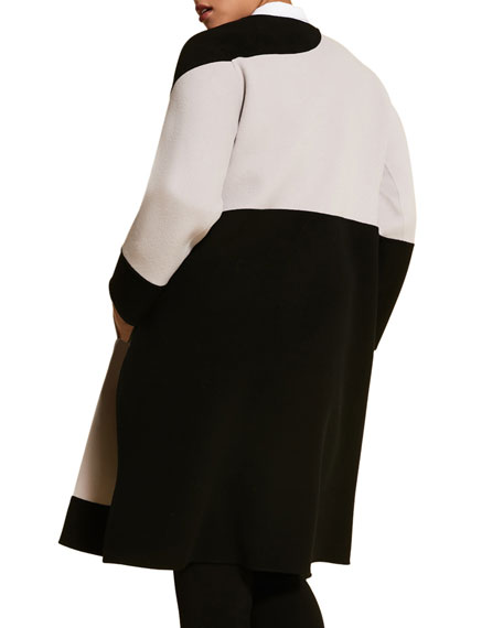 Marina Rinaldi Plus Size Monochrome Double Wool Coat with Side Slits