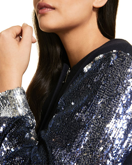 Marina Rinaldi Plus Size Fitted Coat with Sequined Sleeves
