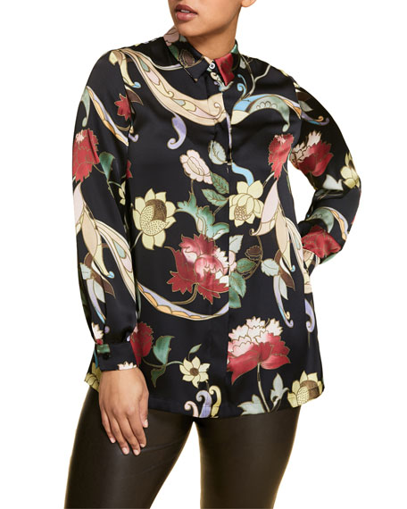 Marina Rinaldi Plus Size Flower-Print Long-Sleeve Satin Shirt