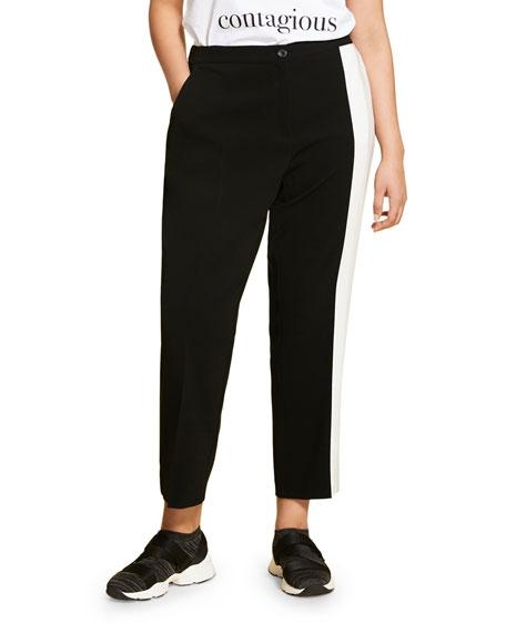 Marina Rinaldi Plus Size Triacetate Ankle Pants with Contrast Side Stripe
