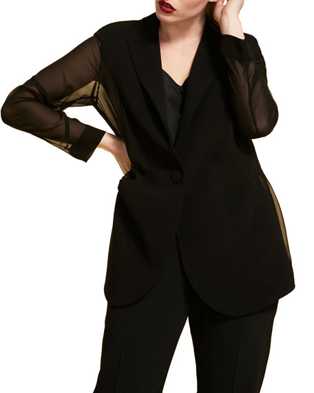 Marina Rinaldi Plus Size Triacetate Jacket with Chiffon Back & Sleeves