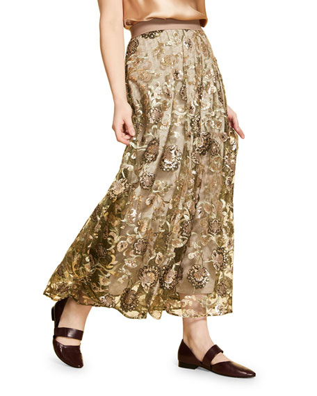 Marina Rinaldi Plus Size Embroidered Tulle Skirt with Sequins