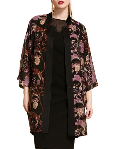 Marina Rinaldi Plus Size Jacquard Fil Coupe Brocade Jacket w/ Mandarin Collar & Kimono Sleeves