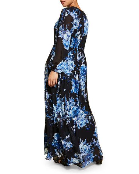 Marina Rinaldi Plus Size Floral-Print Blouson-Sleeve Georgette Maxi Dress