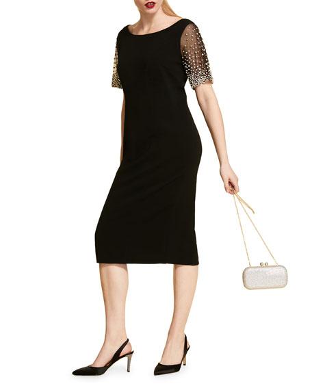 Marina Rinaldi Plus Size Sheath Dress with Bejeweled Short-Sleeves