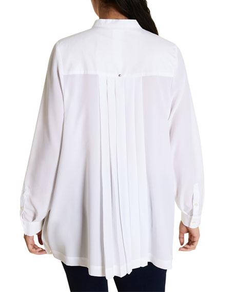 Marina Rinaldi Plus Size Pleated Cotton Poplin Long-Sleeve Shirt