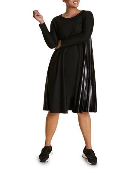 Marina Rinaldi Plus Size Long-Sleeve A-Line Dress with Vinyl Side Pleats
