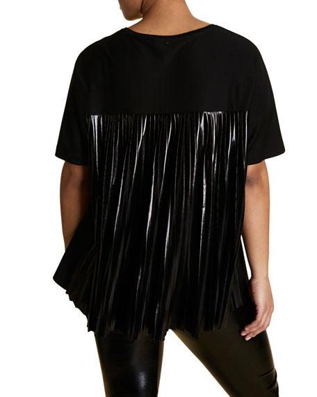 Marina Rinaldi Plus Size Short-Sleeve T-Shirt w/ Vinyl Effect Pleated Back